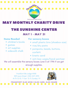 May Monthly Charity Drive
